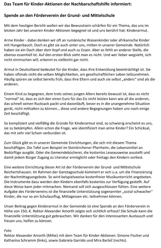 Spende an den Foerderverein der Grund- und Mittelschule Reichertshausen - Blickpunktbericht