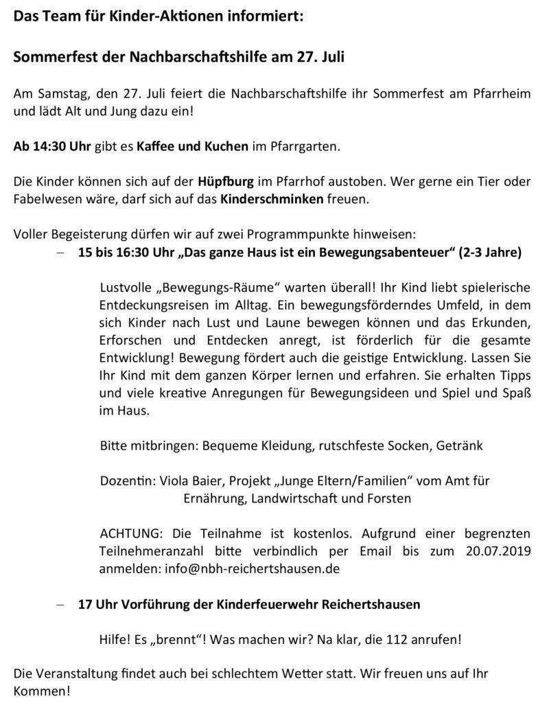 Sommerfest der Nachbarschaftshilfe Reichertshausen 2019