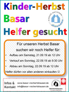 Helfer gesucht - Kinderbasar Reichertshausen